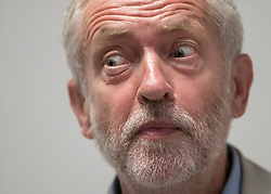 © Licensed to London News Pictures. 24/08/2016. London, UK. Labour party leader Jeremy Corbyn leaves answers journalists questions after speaking on NHS issues. Mr Corbyn faces increasing criticism after appearingng in a video sitting on the floor of a crowded train.  Virgin trains owner Sir Richard Branson released cctv footage appearing to show that seats were available. Photo credit: Peter Macdiarmid/LNP