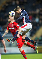 Falkirk's Luke Leahy over Rangers Nicky Law. Falkirk 1 v 1 Rangers, Scottish Championship game played 27/2/2014 at The Falkirk Stadium .