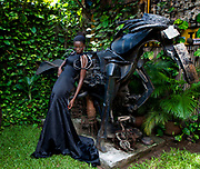 A model wearing Folake Majin, May 3, 2013, Lagos, Nigeria.(Photo by Bennett Raglin)