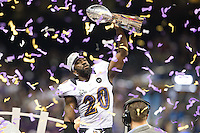 3 February 2013: Safety (20) Ed Reed of the Baltimore Ravens celebrates and holds up the Vince Lombardi trophy after defeating the San Francisco 49ers in Superbowl XLVII at the Mercedes-Benz Superdome in New Orleans, LA.