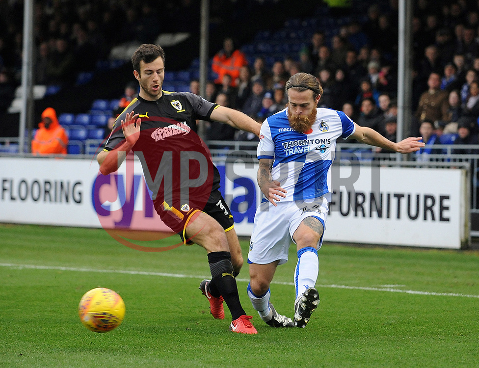 Stuart Sinclair of Bristol Rovers is challenged by Jonathan Meades of AFC Wimbledon - Mandatory by-line: Neil Brookman/JMP - 18/11/2017 - FOOTBALL - Memorial Stadium - Bristol, England - Bristol Rovers v AFC Wimbledon - Sky Bet League One