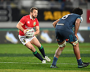 Greig Laidlaw - Lions scrum half cuts inside Blues flanker Akira Ioane.<br /> Auckland Blues v British & Irish Lions, Eden Park, Auckland, New Zealand, Wednesday 7th June 2017<br /> Copyright photo: David Gibson / www.photosport.nz