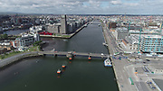 Aerial Still images around Dublin Port during COVID 19 lockdown, Stenna, CLdN, P&O, Cobbelfreight, Tolka Quay, Alexander Rd, Terminal 1,2 ,3, River Liffey, EXO, Building, East Link, Bridge, River Liffey, Samual Beckett Bridge, Capitol Dock, North Quay, Wall, Grand Canal Dock,