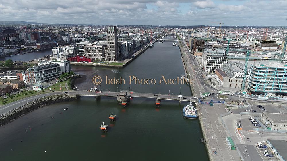 Aerial Still images around Dublin Port during COVID 19 lockdown, Stenna, CLdN, P&O, Cobbelfreight, Tolka Quay, Alexander Rd, Terminal 1,2 ,3, River Liffey, EXO, Building, East Link, Bridge, River Liffey, Samual Beckett Bridge, Capitol Dock, North Quay, Wall, Grand Canal Dock,