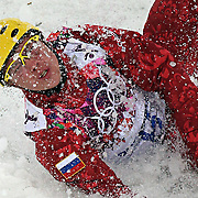 Pavel Krotov of Russia crash lands during the finals of men's aerials at Rosa Khutor Extreme Park during the Winter Olympics in Sochi, Russia, Monday, Feb. 17, 2014. (Brian Cassella/Chicago Tribune/MCT)