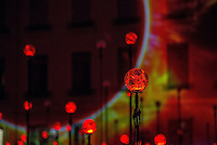 LYON, FRANCE - DECEMBER 04: For four nights over 70 light installations will create a magical atmosphere in the streets, squares and parks all over the city and millions of visitors both French and from abroad will enjoy the friendly and joyful spirit of this unique event on December 4, 2014 in Lyon, France. (Photo by Bruno Vigneron/Getty Images)<br /> Laniakea<br /> Place Antonin Poncet , Lyon 2<br /> Artists: Simon Milleret-Godet &amp; J&eacute;r&ocirc;me Donna<br /> Dive into the depths of a cosmic experience and confront light particles that scintillate by the thousands in the dark. Observe this hypnotic ballet of clouds, clusters of lighted dots and stars that, just like a galaxy, shape themselves into constellation and then disintegrate.<br /> Opening hours