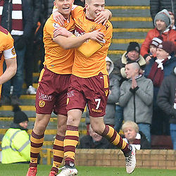 Curtis Main (Motherwell) celebrates with team mate Chris Cadden (Motherwell) after opening the scoring during the Scottish Cup quarter final between Motherwell and Hearts at Fir Park.<br /> <br /> <br /> (c) Dave Johnston | sportPix.org.uk
