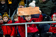 A young Hull City during the EFL Sky Bet Championship match between Hull City and Huddersfield Town at the KCOM Stadium, Kingston upon Hull, England on 28 January 2020.