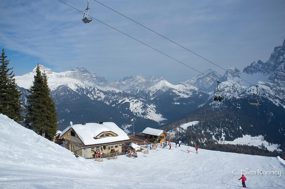 A mountain restaurant at the Civetta ski resort in the Dolomites, South Tyrol, Italy