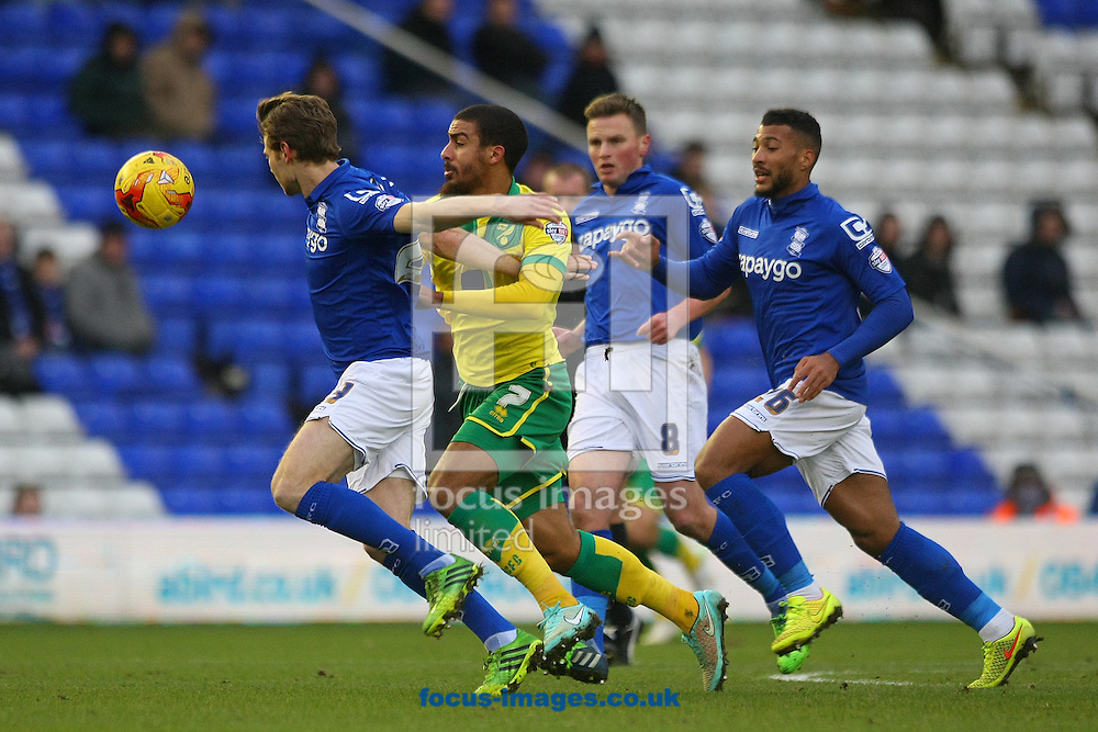 Lewis Grabban of Norwich tries to burst through the Birmingham defence during the Sky Bet Championship match at St Andrews, Birmingham<br /> Picture by Paul Chesterton/Focus Images Ltd +44 7904 640267<br /> 31/01/2015