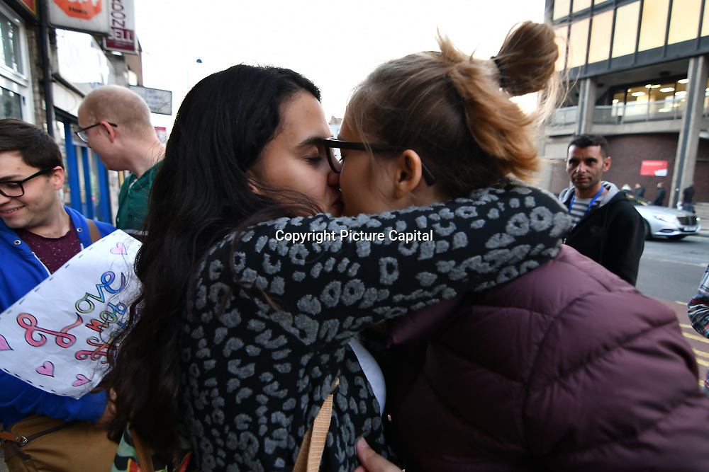 Queer Kiss-In protest against discrimination of lesbian couple. The wood green estate refuse to let a couple of lesbian to view the property at Wood Green Estate in May 2018, London, UK. 10 October 2018.
