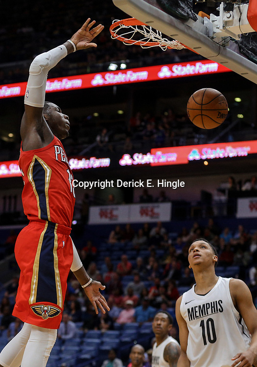 Apr 4, 2018; New Orleans, LA, USA; New Orleans Pelicans forward Cheick Diallo (13) dunks over Memphis Grizzlies forward Ivan Rabb (10) during the second half at the Smoothie King Center. The Pelicans defeated the Grizzlies 123-95. Mandatory Credit: Derick E. Hingle-USA TODAY Sports