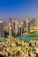 View from the Address Hotel of the area surrounding the Burj Khalifa, the tallest building in the world in downtown Dubai, Dubai, United Arab Emirates