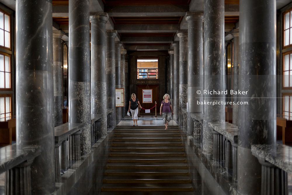 Interior of the Slovenian National and University Library (by the celebrated architect Joze Plecnik), in the Slovenian capital, Ljubljana, on 27th June 2018, in Ljubljana, Slovenia.