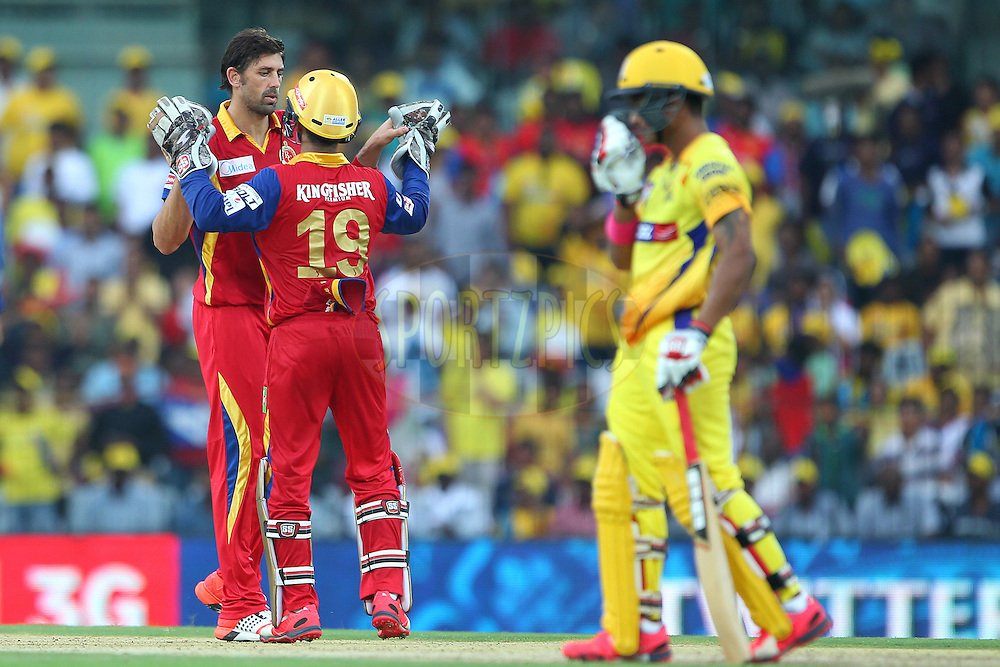 David Wiese of the Royal Challengers Bangalore celebrates the wicket of MS Dhoni captain of the Chennai Superkings  during match 37 of the Pepsi IPL 2015 (Indian Premier League) between The Chennai Superkings and The Royal Challengers Bangalore held at the M. A. Chidambaram Stadium, Chennai Stadium in Chennai, India on the 4th May April 2015.<br /> <br /> Photo by:  Ron Gaunt / SPORTZPICS / IPL