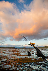 """Fishing Pole at Stampede Reservoir"" - Photograph of a trolling fishing pole shot at sunrise at Stampede Reservoir."