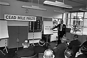 03/07/1963<br /> 07/03/1963<br /> 03 July 1963<br /> American executives of N.C.R. visit Dublin. Two top executives of the Dayton, Ohio, headquarters of the National Cash Register Company, one of the world's foremost manufacturers of cash registers, accounting machines and electronic computers, visiting Dublin. Picture shows O.J. Byrne, Manager for Ireland, Cash Register Division N.C.R. speaking at the Kilmainham office.
