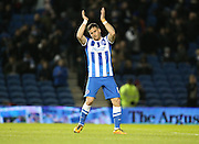 Brighton striker, Tomer Hemed (10) scores and celebrates during the Sky Bet Championship match between Brighton and Hove Albion and Brentford at the American Express Community Stadium, Brighton and Hove, England on 5 February 2016.