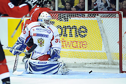 Russian goaltender Alexander Zalivin in Game 4 of the CHL's SUBWAY Super Series in Windsor, ON on Monday. Photo by Aaron Bell/OHL Images.