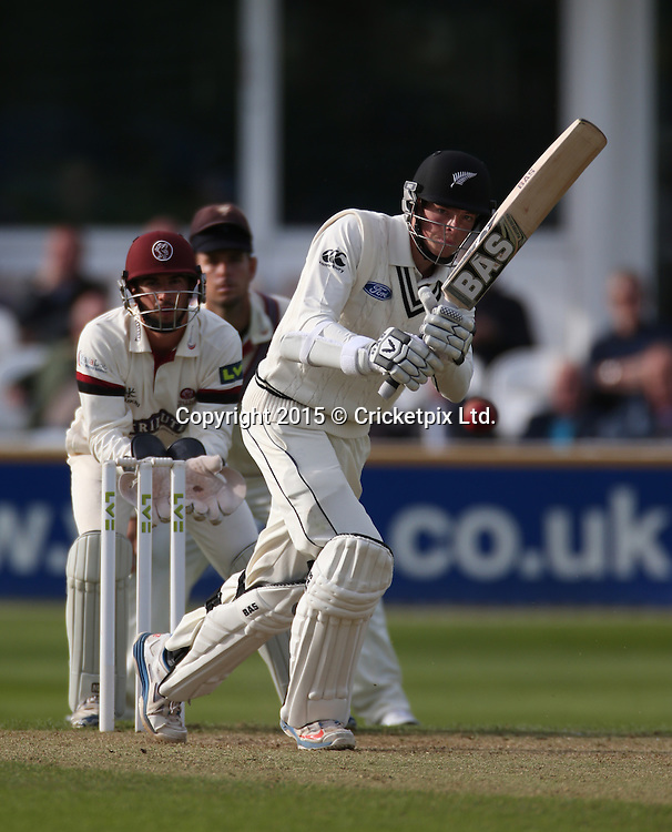Mitchell Santner off the bowling of Abdur Rehman during the four day game between Somerset and a New Zealand XI at the County Ground, Taunton. Photo: Graham Morris/www.cricketpix.com (Tel: +44 (0)20 8969 4192; Email: graham@cricketpix.com) 09052015