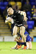 No way through for Widnes' Gil Dudson during the Super League match between Warrington Wolves and Widnes Vikings at the Haliwell Jones Stadium, Warrington, United Kingdom on 9 September 2016. Photo by Craig Galloway.