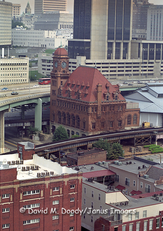 Aerial view of the old train station alongside Route 95 in downtown Richmond, Virginia.