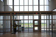 The main entrance is seen as media members tour the newest prison in Pennsylvania Friday, September 01, 2017 at State Correction Institution Phoenix in Skippack, Pennsylvania. The facility is inching closer to opening, two years late, to replace Graterford Prison at a cost of $400 million. (Photo by William Thomas Cain/CAIN IMAGES)