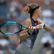 2017 U.S. Open Tennis Tournament - DAY EIGHT. Lucie Safarova of the Czech Republic in action against CoCo Vandeweghe of the United States in the Women's Singles round four match at the US Open Tennis Tournament at the USTA Billie Jean King National Tennis Center on September 04, 2017 in Flushing, Queens, New York City.  (Photo by Tim Clayton/Corbis via Getty Images)