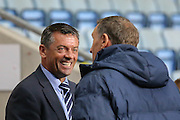 Phil Brown & Tony Mowbray during the Sky Bet League 1 match between Coventry City and Southend United at the Ricoh Arena, Coventry, England on 31 August 2015. Photo by Simon Davies.