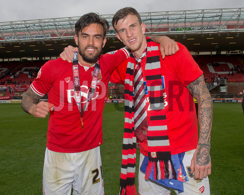 Bristol City's Marlon Pack and Bristol City's Aden Flint - Photo mandatory by-line: Dougie Allward/JMP - Mobile: 07966 386802 - 03/05/2015 - SPORT - Football - Bristol - Ashton Gate - Bristol City v Walsall - Sky Bet League One