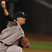 Pitcher Masahiro Tanaka, New York Yankees, pitching during the New York Mets Vs New York Yankees MLB regular season baseball game at Citi Field, Queens, New York. USA. 18th September 2015. Photo Tim Clayton
