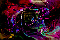 rainbow colored shapes abstract image with swirling shapes on black background