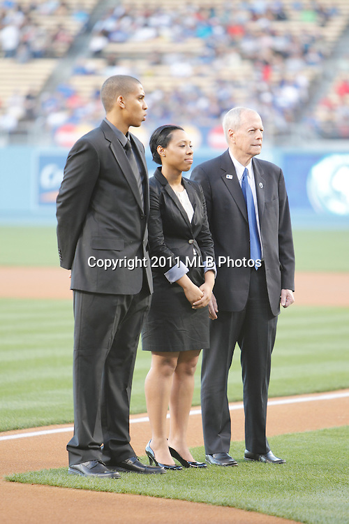 LOS ANGELES, CA - APRIL 15:  The Los Angeles Dodgers recognize members of the Jackie Robinson Foundation Scholars, recipients of a team-funded scholarship bearing Jackie Robinson's name, prior to the game between the St. Louis Cardinals and the Los Angeles Dodgers on Friday April 15, 2011 at Dodger Stadium in Los Angeles, California. (Photo by Paul Spinelli/MLB Photos via Getty Images)