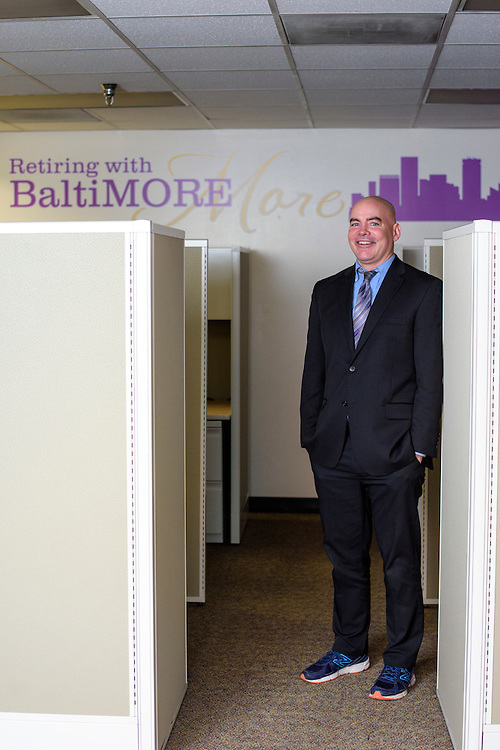 Baltimore, Maryland - February 12, 2016: Tim Coyne, the Operations Manager for the Retirement Savings Plan of the City of Baltimore, is photographed in his office Friday February 12, 2016 in Baltimore City.<br /> CREDIT: Matt Roth