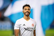 Shay Logan (#2) of Aberdeen FC during the warm up before the Ladbrokes Scottish Premiership match between Rangers and Aberdeen at Ibrox, Glasgow, Scotland on 5 December 2018.