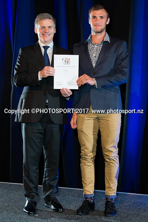 Phillip Wilson with Rt Hon Bill English, 2017 Waikato Prime Minister's Scholarship Certificate Presentation Evening, Claudelands, Hamilton, New Zealand. Thursday 27 April 2017. © Copyright Photo: Stephen Barker / www.photosport.nz