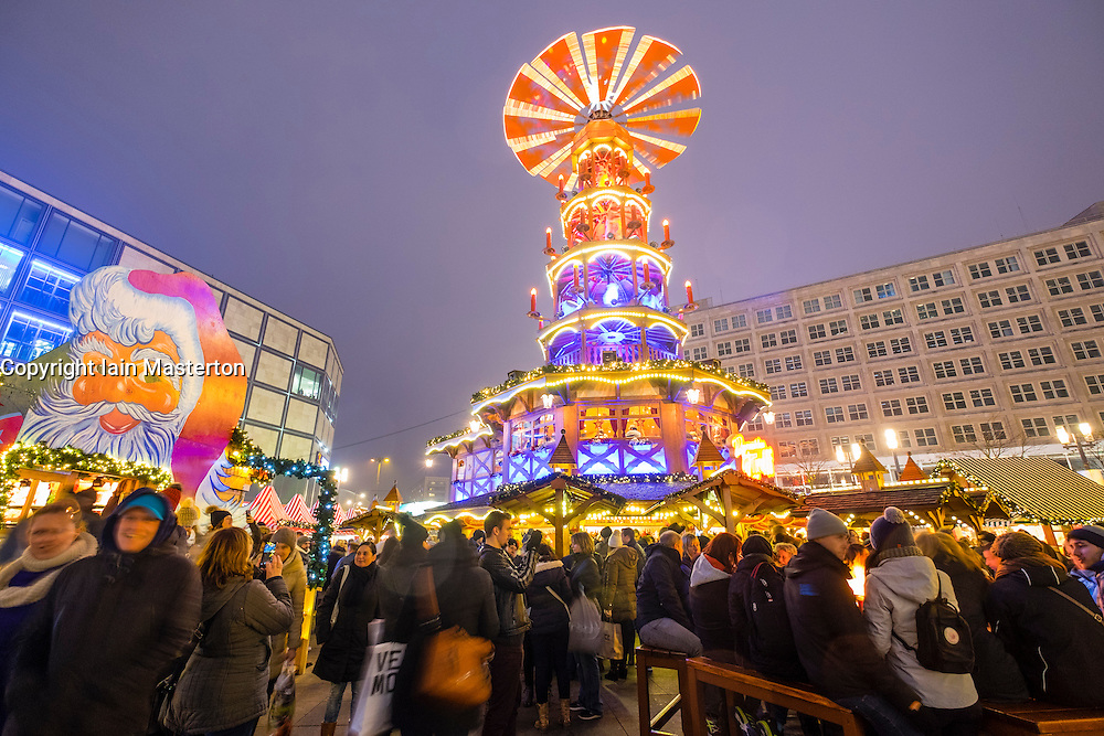 Night view of traditional Christmas Market at Alexanderplatz in Mitte Berlin Germany 2016