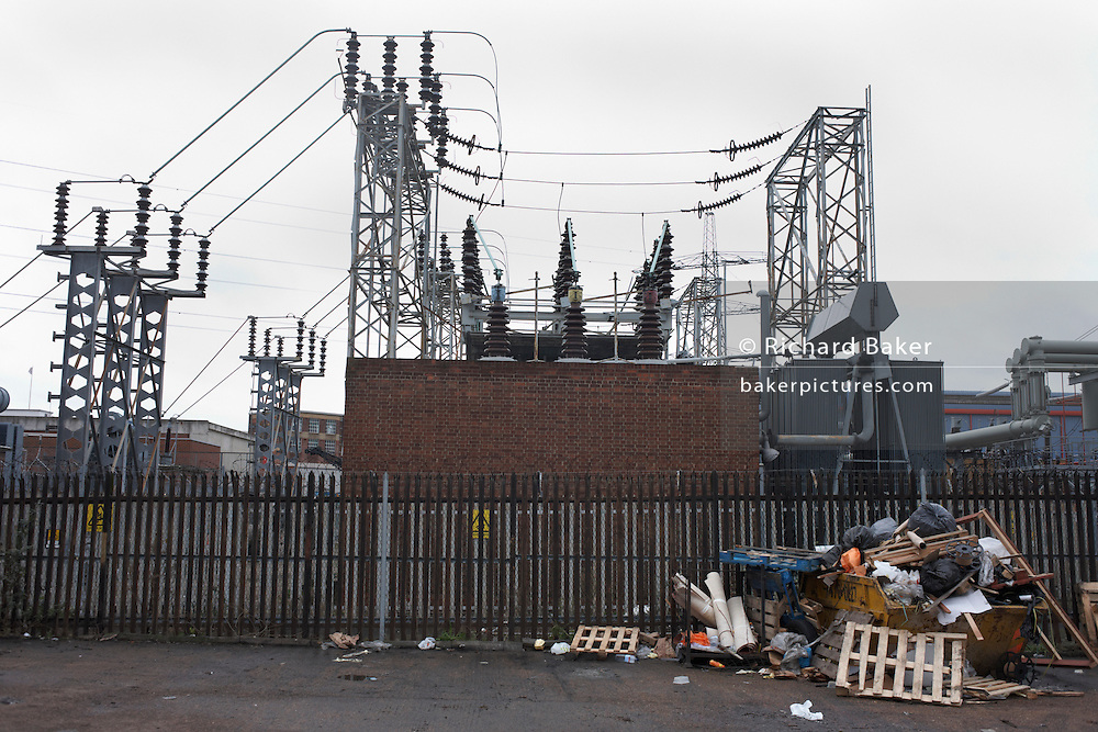 Dated technology of the desolate electricity substation at South Bromley is seen from the Pylon Industrial Estate. .
