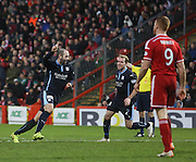 Gary Harkins celebrates after putting Dundee 3-1 up -  Aberdeen v Dundee, SPFL Premiership at Pittodrie<br />
