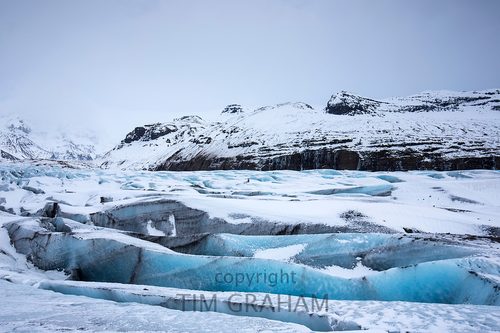 Close up layers of ice blocks and crevasse of glacial tongue of Svinafellsjokull, an outlet glacier of Vatnajokull, South Iceland