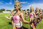 "28 AUGUST 2013 - HUA HIN, PRACHUAP KHIRI KHAN, THAILAND:  Traditional Thai dancers perform at the opening of the King's Cup Elephant Polo Tournament in Hua Hin, Thailand. The tournament's primary sponsor in Anantara Resorts and the tournament is hosted by Anantara Hua Hin. This is the 12th year for the King's Cup Elephant Polo Tournament. The sport of elephant polo started in Nepal in 1982. Proceeds from the King's Cup tournament goes to help rehabilitate elephants rescued from abuse. Each team has three players and three elephants. Matches take place on a pitch (field) 80 meters by 48 meters using standard polo balls. The game is divided into two 7 minute ""chukkas"" or halves. There are 16 teams in this year's tournament, including one team of transgendered ""ladyboys.""    PHOTO BY JACK KURTZ"
