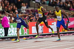 London, 2017 August 07. Aries Merritt, USA, Hansle Parchment, Jamaica, Shane Brathwaite, Barbados, and Garfield Darien, France, in the Men's 110m hurdles final on day four of the IAAF London 2017 world Championships at the London Stadium. © Paul Davey.