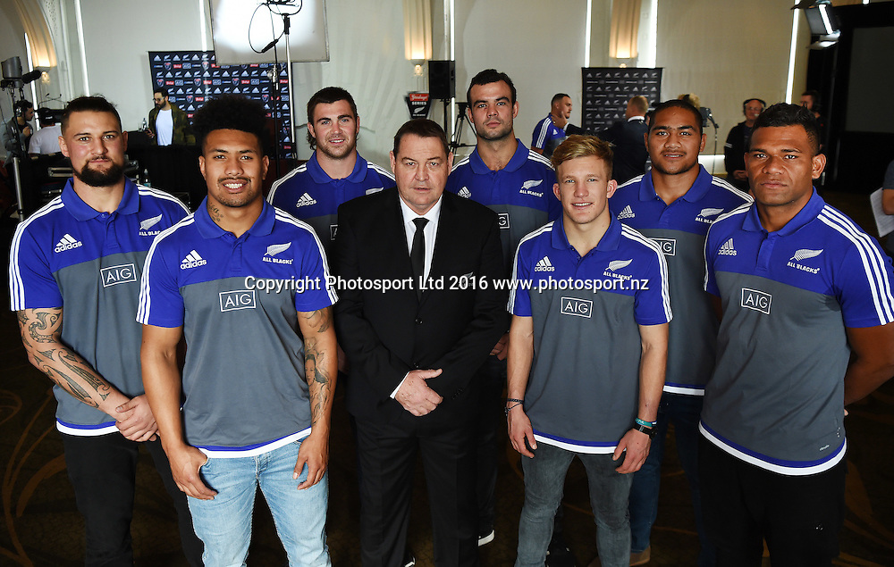 Debut All Blacks L_R Ofa Tu'ungafasi, Elliot Dickson, Ardie Savea, Liam Squire Damian McKenzie, Tom Franklin and Seta Tamanivalu with coach Steve Hansen during a press conference for the naming of the New Zealand All Blacks squad to play 3 test matches against Wales next month. Rugby Union. Heritage Hotel in Auckland. New Zealand. Sunday 28 May 2016 © Copyright Photo: Andrew Cornaga / www.Photosport.nz