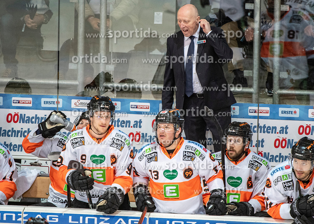 19.03.2019, Keine Sorgen Eisarena, Linz, AUT, EBEL, AUT, EBEL, EHC Liwest Black Wings Linz vs Moser Medical Graz 99ers, Viertelfinale, 4. Spiel, im Bild 19.03.2019, Keine Sorgen Eisarena, Linz, AUT, EBEL, EHC Liwest Black Wings Linz vs Moser Medical Graz 99ers, Viertelfinale, 4. Spiel, im Bild // during the Erste Bank Icehockey 4nd quarterfinal match between EHC Liwest Black Wings Linz and Moser Medical Graz 99ers at the Keine Sorgen Eisarena in Linz, Austria on 2019/03/19. EXPA Pictures © 2019, PhotoCredit: #AGENTUR#/ Reinhard Eisenbauer // during the Erste Bank Icehockey 4nd quarterfinal match between EHC Liwest Black Wings Linz and Moser Medical Graz 99ers at the Keine Sorgen Eisarena in Linz, Austria on 2019/03/19. EXPA Pictures © 2019, PhotoCredit: EXPA/ Reinhard Eisenbauer<br /> <br /> *****ATTENTION - #RESTRICTION#*****