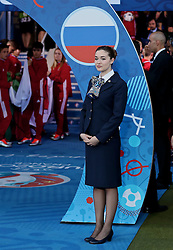 TOULOUSE, FRANCE - Monday, June 20, 2016: A hostess stands next to the Euro 2016 branding of a Russia flag before the final Group B UEFA Euro 2016 Championship match against Wales at Stadium de Toulouse. (Pic by David Rawcliffe/Propaganda)