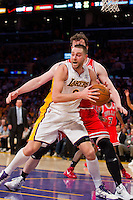 25 December 2011: Forward Josh McRoberts of the Los Angeles Lakers grabs a rebound against the Chicago Bulls during the second half of the Bulls 88-87 victory over the Lakers at the STAPLES Center in Los Angeles, CA.
