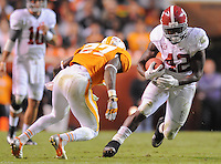 Oct 20, 2012; Knoxville, TN, USA;  Tennessee Volunteers defensive back Justin Coleman (27) tries to tackle Alabama Crimson Tide running back Eddie Lacy (42) during the second half at Neyland Stadium. Alabama won by a score of 44 to 13.