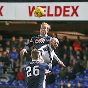 Ross County&rsquo;s Andrew Davies outjumps Dundee&rsquo;s Gary Harkins - Ross County v Dundee, Ladbrokes Premiership at Victoria Park<br /> <br />  - &copy; David Young - www.davidyoungphoto.co.uk - email: davidyoungphoto@gmail.com