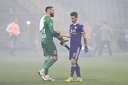Metod Jurhar of Celje and Luka Zahović of Maribor after football match between NK Maribor and NK Celje in Round #24 of Prva liga Telekom Slovenije 2018/19, on March 30, 2019 in stadium Ljudski vrt, Maribor, Slovenia. Photo by Milos Vujinovic / Sportida