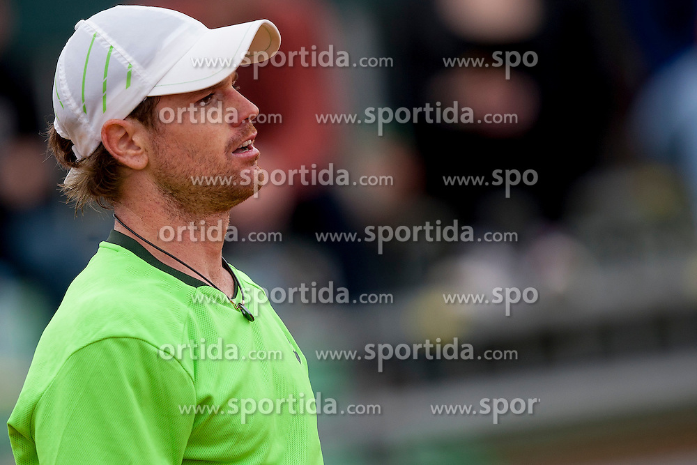 Blaz Kavcic of Slovenia (green) plays against Amir Weintraub of Israel (white) during 1st match of Davis cup Slovenia vs. Israel on April 4, 2014 in Portoroz, Slovenia. Photo by Urban Urbanc / Sportida